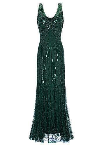 Metme Women's Roaring 1920s Gatsby Sleeveless Sequined Beaded Long Flapper Dress Prom (S, Green)