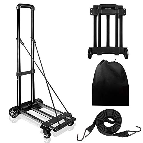 KOMEX Folding Hand Truck 100 Kg/220 lbs Capacity Heavy Push Cart Dolly Duty Luggage Trolley Cart with Telescoping Handle for Luggage, Personal,Travel,Auto,Moving and Office Using