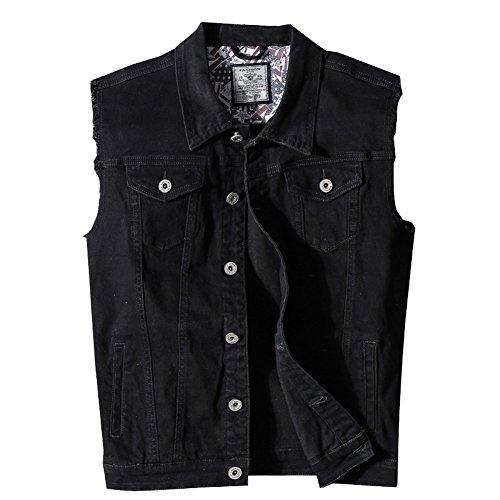 Heihuohua Men's Casual Button-Down Denim Vest Trucker Jean Jacket (Large, (Mens Vest Jackets)