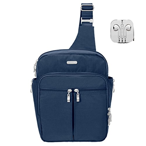 Baggallini RFID Sling Messenger Backpack Bundle with Complimentary Travel Earphones (Pacific)