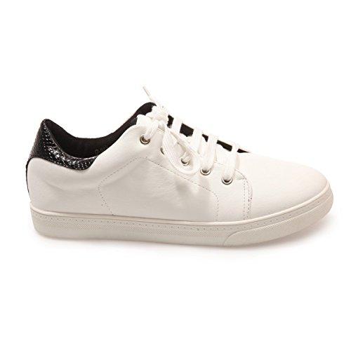La Modeuse-zapatillas deportivas de piel sintética con tapa, Negro (negro), 40