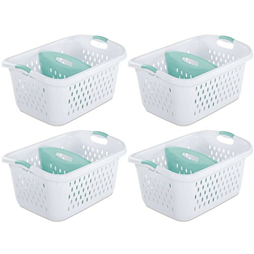 Sterilite 2.2 Bushel/78 L Divided Laundry Basket, White - Set of 4 (Plastic Basket Laundry Dividers With)