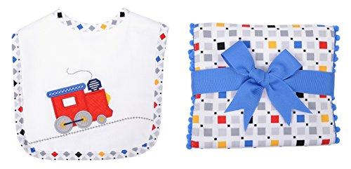3 Marthas Boutique Bib and Fancy Burp Cloth Set (Blue White - Choo Choo Train)