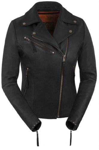 True Element Womens Premium Riveted Asymmetrical Motorcycle Leather Jacket (Black, Size L)