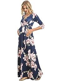 Women's Floral Print Draped 3/4 Sleeve Long Maxi...