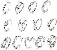 LOYALLOOK 15Pcs Adjustable Toe Rings Various Types Open Toe Ring Set Women Summer Beach Jewelry
