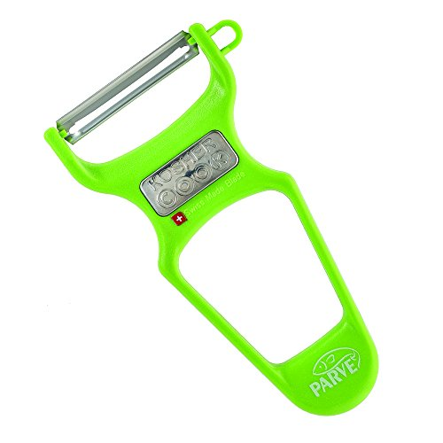 Kosher Potatoes - Parve Green Y Vegetable Peeler - Heavy Duty, Ultra Sharp Stainless Steel Swiss Blade, Ergonomic Plastic Handle - Color Coded Kitchen Tools by The Kosher Cook