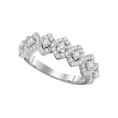 1 White Gold Single Band (Roy Rose Jewelry 14K White Gold Ladies Diamond Diagonal Square Single Row Band 1-Carat tw ~ Size 7)