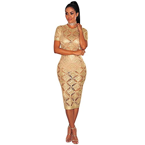 Donna Da Vestitop Da Oro Camicetta Vestito Gold Rosa In Maglia Lavorato Notte Con Discoteca Da A OqAIq