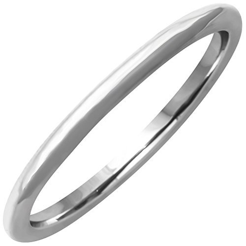 18K White Gold Traditional Classic Women's Comfort Fit Wedding Band (1.5mm) Size-8c1 ()