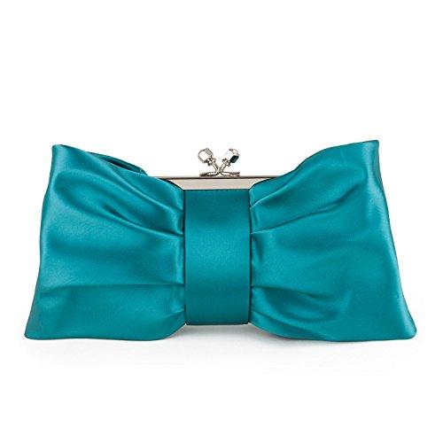 Farfalla 90642 - Bolso estilo sobre de satén mujer azul - verde azulado