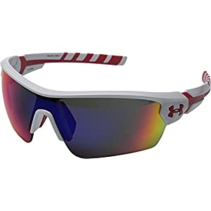 Under Armour 8600090-106451 Rival Shield Sunglasses, 42mm - Shiny White/Red
