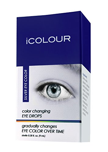 iCOLOUR Color Changing Eye Drops - Change Your Eye Color Naturally - 1 Month Supply - 9 mL (Silver) -