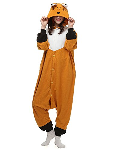 [Oneises Women Men's Animal Fox Onesie Halloween Costume Pajamas Partywear Large] (Animal Halloween Costumes Men)