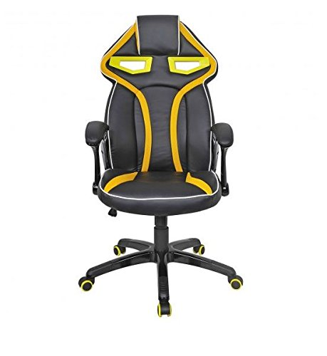 41LDYB7UDrL - MD-Group-Gaming-Chair-Racing-Bucket-Seat-Style-High-Back-Yellow-PU-Fabric-Mesh-Large-Load-Capacity
