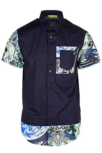 Versace Jeans chemise à manches courtes homme contrast regular blu EU 48 (UK 38) B1GPA607 PUP20724350