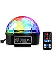 Disco Crystal Magic Ball Party Lights,AVEKI LED 6 Color DJ Strobe Light Sound Activated Stage Effect Rotating Light with Remote Control for KTV Party Wedding Home Club Decor