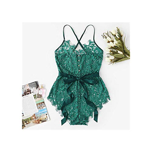Criss Cross Eyelash Floral Lace Teddy Bodysuit Sexy Belted Teddy Bear Women One Piece Sleep Pajamas,Groen,M