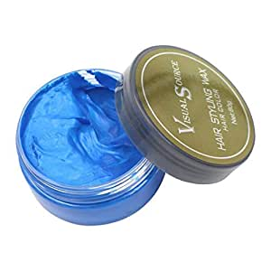 Jeerui Professional Men and Women One-Time DIY Hair Color Healthy Wax Dye Molding Paste Styling Hair Color Cream Grandma Hair Ash Dye Gray Mud Temporary 80g (Blue)