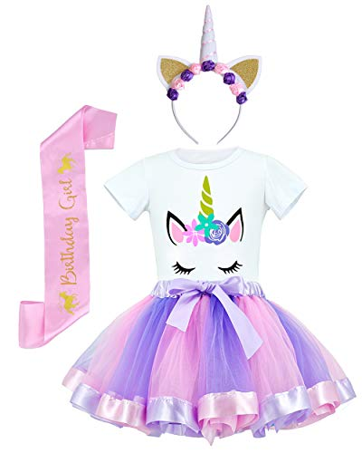 JiaDuo Girls Costume Rainbow Tutu Skirt with Unicorn Shirt, Headband & Satin Sash Light Purple M