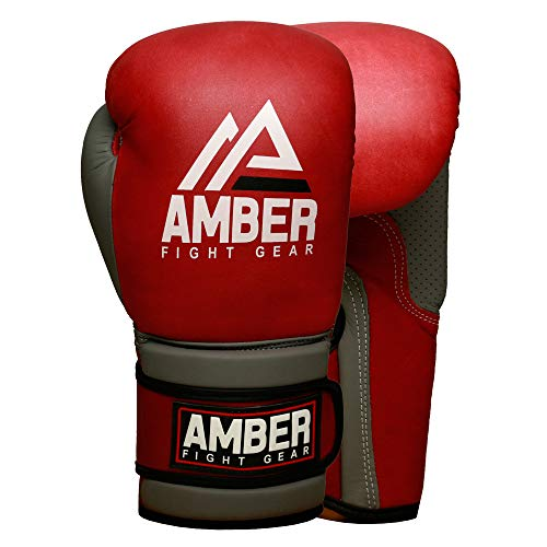 Amber Fight Gear Gladiator Real Leather Vintage Boxing Gloves Boxing Kickboxing Muay Thai Training Gloves Sparring Punching Bag Mitts 12oz