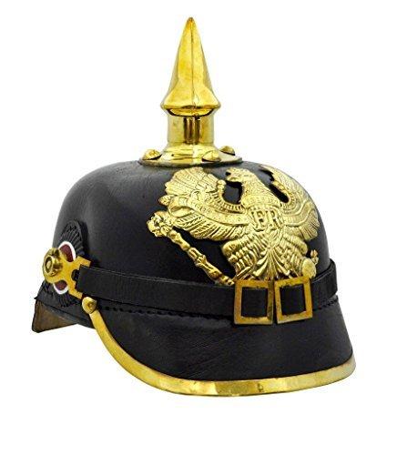 Imperial Helmet (Brass German Pickelhaube Imperial Prussian Helmet - Leather)