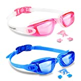 EVERSPORT Swim Goggles 2 Pack, Swimming Goggles Swim Glasses Anti Fog UV Protection for Adult Men Women Youth Kids Child, Shatter-Proof, Watertight