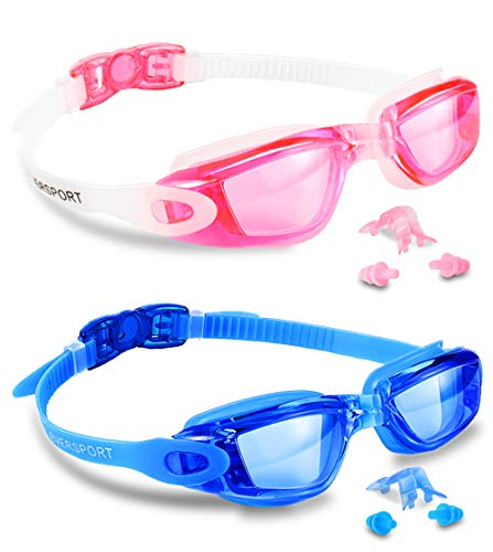 EverSport Swim Goggles, Pack of 2, Swimming Glasses for Adult Men Women Youth Kids Child, Anti-Fog, UV Protection, Shatter-Proof, Watertight(Blue&Pink) ()