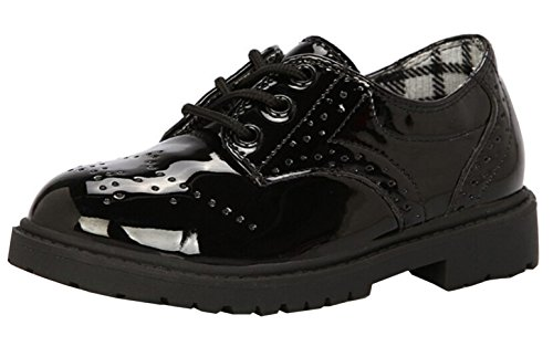 (DADAWEN Children's Boy's Girl's Oxford Dress Shoe (Toddler/Little Kid/Big Kid) Black US Size 11 M Little Kid)