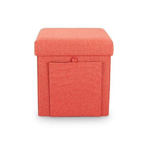 YULAN Storage Stool Ottoman Footstool Multi-Function Children's Home Can Sit Fashion Sofa Stool Special Force House Multi-Functional (Color : Orange)