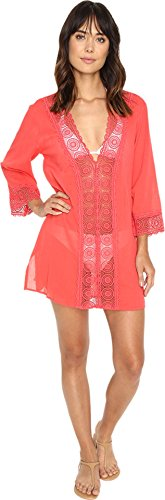 La Blanca Women's Island Fare V-Neck Tunic Cover-Up Watermelon Cover Up XL