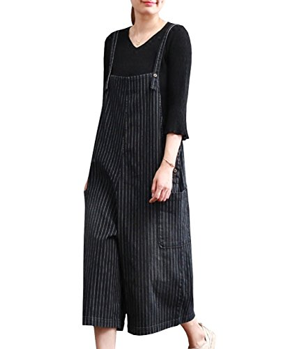 YESNO P03 Women Strap Rompers Jumpsuits Denim Casual Bib Pants 100% Cotton Striped Boyfriend Wide Leg Low Crotch Pocket