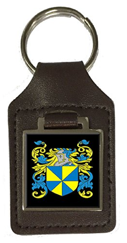 Spicer Family Crest Surname Coat Of Arms Brown Leather Keyring Engraved