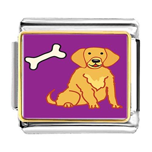 - GiftJewelryShop Gold Plated Golden Retriever Dog Bracelet Link Photo Italian Charm