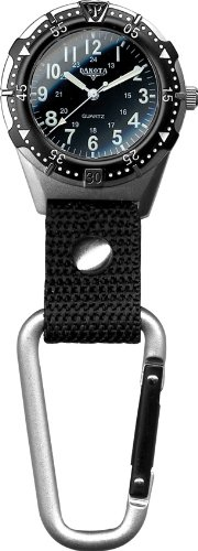 Dakota Watch Company Men's Aluminum Backpacker Clip Watch, Black Original Black Anodized