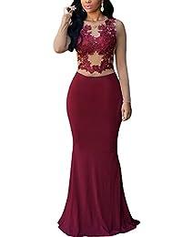 Cfanny Women's Lace Applique Nude Mesh Evening Maxi Dress Gown