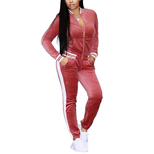 Velour Activewear - Women's Two Piece Outfits Velvet Long Sleeve Zip Up Jacket and Pants Set Tracksuit Sweatsuit Activewear Pink L