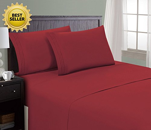 HC Collection Bed Sheet & Pillowcase Set HOTEL LUXURY 1800 Series Egyptian Quality Bedding Collection! Deep Pocket, Wrinkle & Fade Resistant,Luxurious,Comfortable,Extremely Durable(Cal King, Burgundy) (Star Burgundy)
