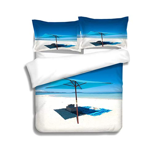 MTSJTliangwan Family Bed Umbrella and Picnic Basket on a Deserted Beach 3 Piece Bedding Set with Pillow Shams, Queen/Full, Dark Orange White Teal Coral