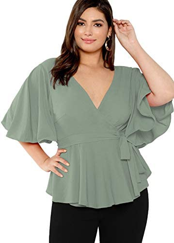 Romwe Women's Plus Size Short Sleeve Deep V Neck Self Belted Casual Peplum Wrap Blouse