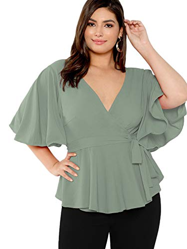 (Romwe Women's Plus Size Short Sleeve Deep V Neck Self Belted Casual Peplum Wrap Blouse Green 1X Plus)
