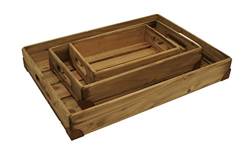 [Wald Imports Natural Pine Wood  Decorative Trays, Set of 3] (Nesting Wood Trays)
