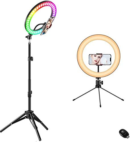 "10"" Ring Light with Stand, Fauna 10 Colors RGB LED Ring Light with Two Tripod Stand and Phone Holder & 10 Brightness Level & Camera Remote Shutter for Makeup,YouTube,Video,Photography"
