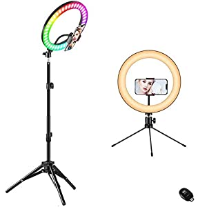 """Best Epic Trends 41LDbutrE5L._SS300_ 10"""" Ring Light with Stand, Color Changing RGB LED Ring Light with Two Tripod Stand and Phone Holder & 10 Brightness Level & Camera Remote Shutter for Makeup,YouTube,Video,Photography"""