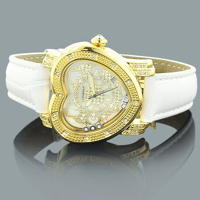 Luxurman Watches: Ladies Diamond Heart Watch 0.30ct Yellow Gold Plated