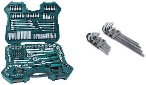 Mannesmann M98430 - Maletín con llaves de vaso y otras herramientas (215 piezas, tamaño: 12x36x51 cm) + M18170 - Juego de llaves allen hexagonales y de punta Torx (18 unidades): Amazon.es: Bricolaje y herramientas