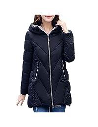 PENATE Women's Slim Down Jacket Girls Soft Winter Warm Hooded Cotton Padded Coat