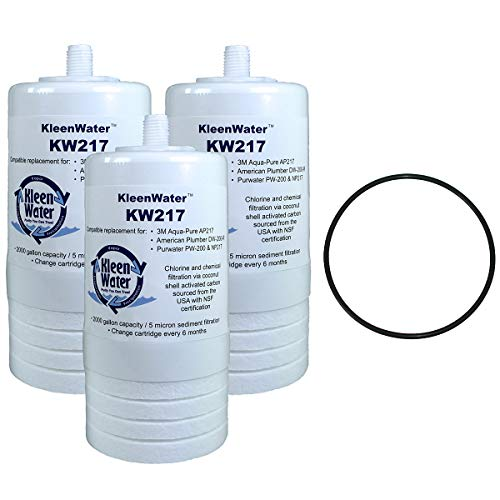 (KleenWater AP217 Aqua-Pure Compatible Filter (3), Aqua-Pure AP200 Water Filter System Replacement O-ring (1))