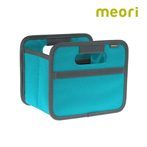 - meori A100100 Mini Foldable Box, 1.8 Liter / .5 Gallon, Azure Blue To Organize Cosmetics, Electronics, Office Supplies and More