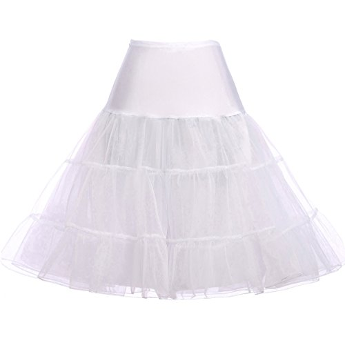 GRACE KARIN Women's 50s Petticoat Vintage Crinoline Tutu Underskirts White ()